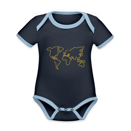 Wereldkaart - Baby contrasterend bio-rompertje met korte mouwen