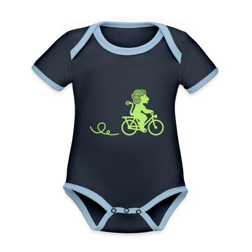 Züri-Leu beim Velofahren ohne Text - Baby Bio-Kurzarm-Kontrastbody