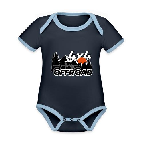 Offroad 4x4 Jeep Logo - Baby Bio-Kurzarm-Kontrastbody