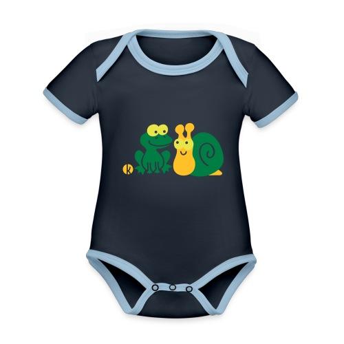 Frosch und Schnecke (c2) Freundschaft - Baby Bio-Kurzarm-Kontrastbody