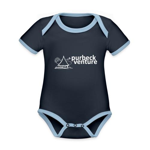 Purbeck Venture Sleepy white - Organic Baby Contrasting Bodysuit
