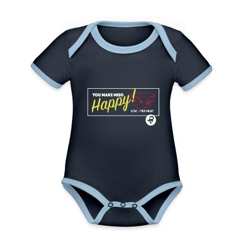 You make miso happy :) - Organic Baby Contrasting Bodysuit