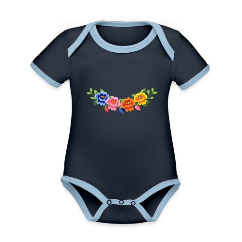 Flores Mexicanas - Body contraste para bebé de tejido orgánico