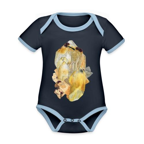 Bergkristall mit Granat - Baby Bio-Kurzarm-Kontrastbody