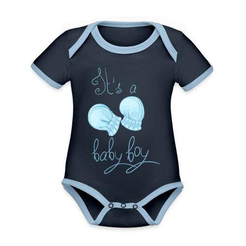 Baby boy - Body Bébé bio contrasté manches courtes