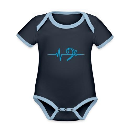 LowHeartBeatDouble cyan - Baby Bio-Kurzarm-Kontrastbody