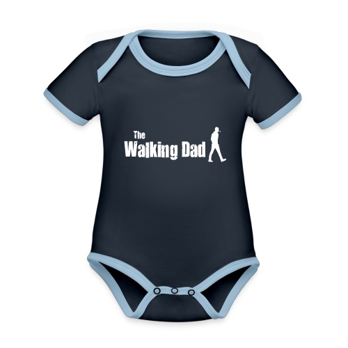 the walking dad white text on black - Organic Baby Contrasting Bodysuit