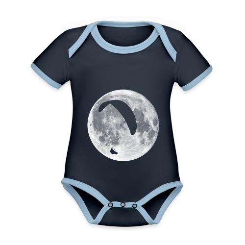 Paragleiter im Mond - Baby Bio-Kurzarm-Kontrastbody