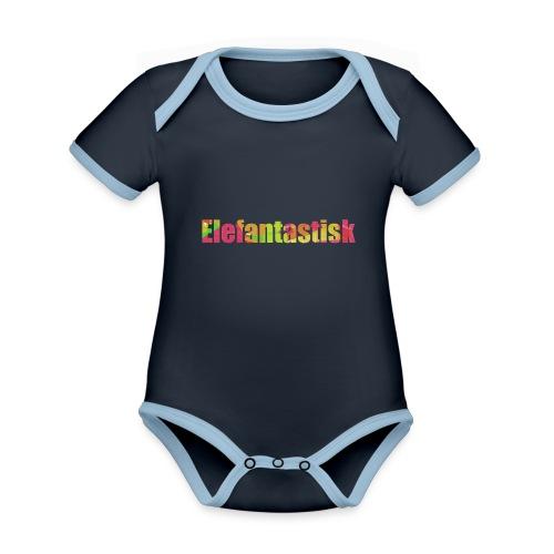 Elefantastisk text - Ekologisk kontrastfärgad kortärmad babybody