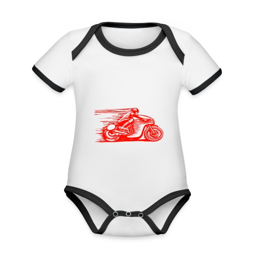 Caffeine & Gasoline white text - Organic Baby Contrasting Bodysuit