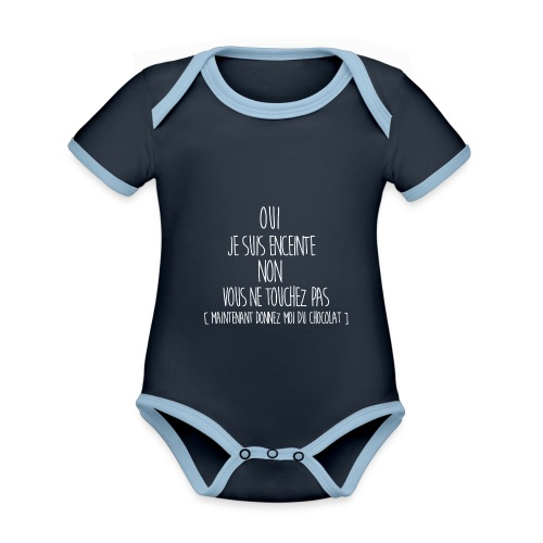T-Shirt-Femme-Enceinte - Body Bébé bio contrasté manches courtes