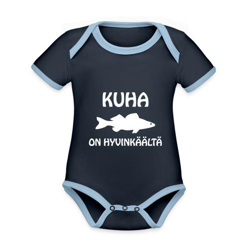KUHA ON HYVINKÄÄLTÄ - Vauvan kontrastivärinen, lyhythihainen luomu-body