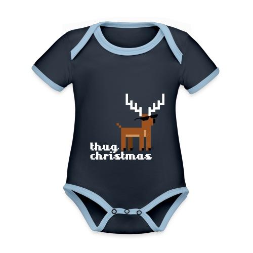 Christmas Xmas Deer Pixel Funny - Organic Baby Contrasting Bodysuit