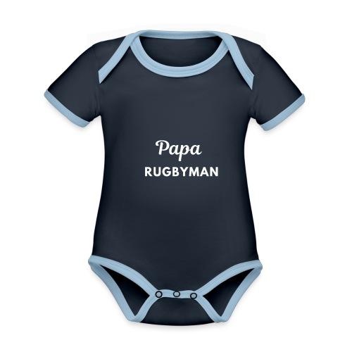 Papa rugbyman - Body Bébé bio contrasté manches courtes
