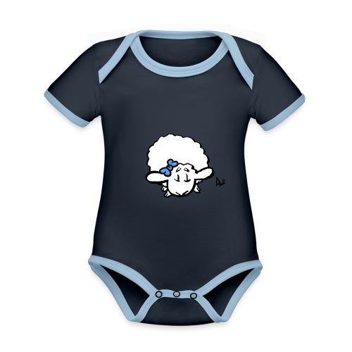 Baby Lamb (niebieski) - Ekologiczne body niemowlęce z krótkim rękawem i kontrastowymi lamówkami