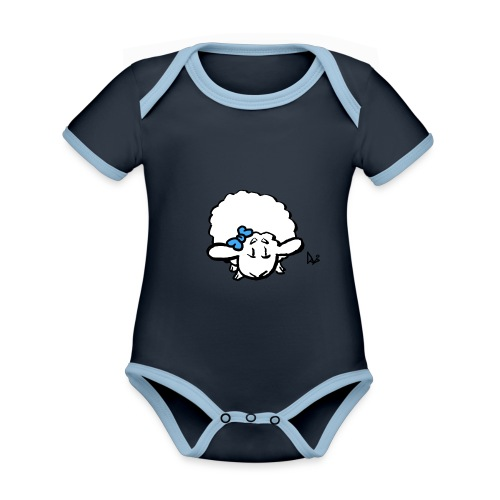 Baby Lamm (blå) - Ekologisk kontrastfärgad kortärmad babybody
