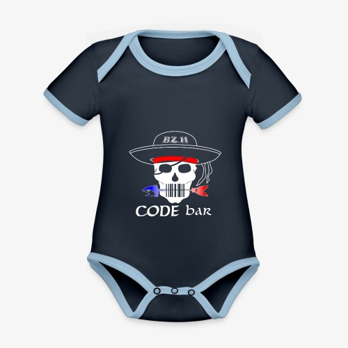 Code Bar white - Body Bébé bio contrasté manches courtes