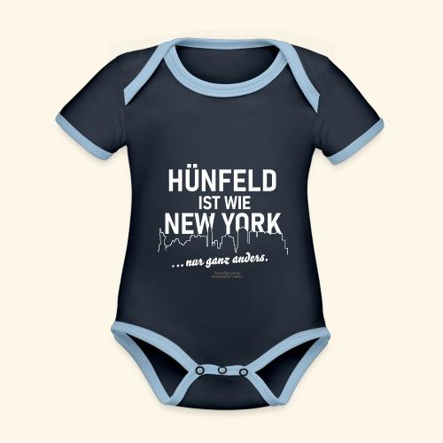 Hünfeld✨ist wie New York lustiger Spruch - Baby Bio-Kurzarm-Kontrastbody