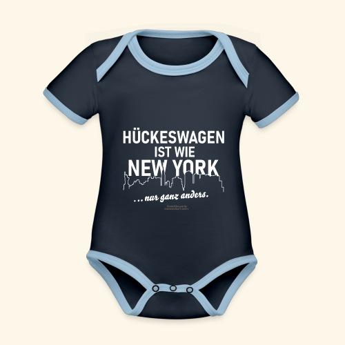Hückeswagen 🌟 ist wie New York 🏢 Spruch - Baby Bio-Kurzarm-Kontrastbody