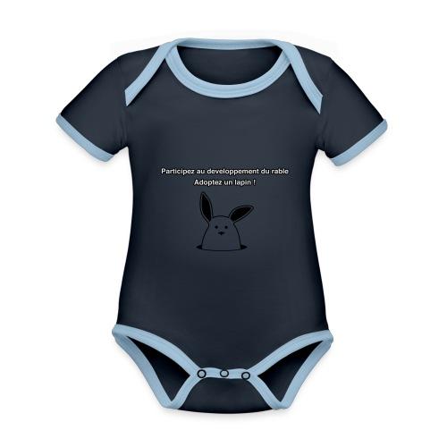 adoptez un lapin ! - Body Bébé bio contrasté manches courtes