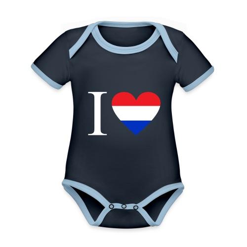 Ik hou van Nederland | Hart met rood wit blauw - Baby contrasterend bio-rompertje met korte mouwen