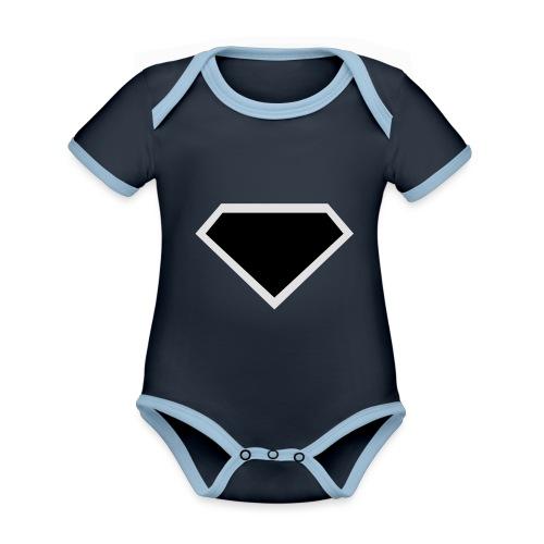 Diamond Black - Two colors customizable - Baby contrasterend bio-rompertje met korte mouwen