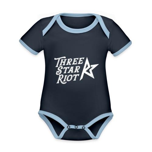 Three Star Riot logo vaalea - Vauvan kontrastivärinen, lyhythihainen luomu-body