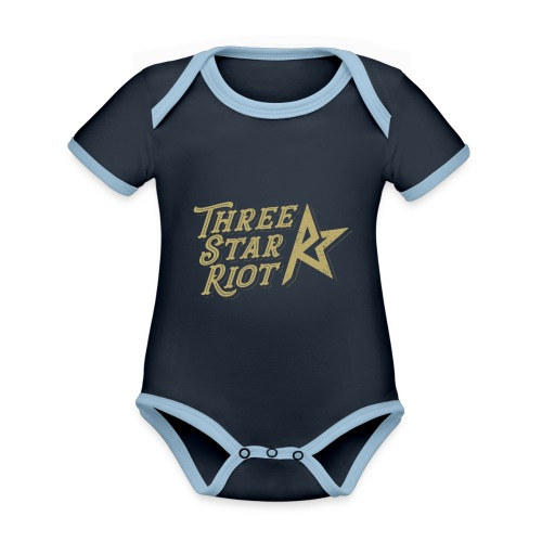 Three Star Riot logo väri - Vauvan kontrastivärinen, lyhythihainen luomu-body