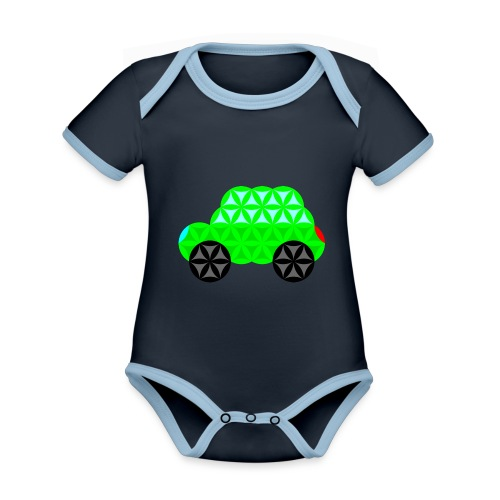 The Car Of Life - M01, Sacred Shapes, Green/R01. - Organic Baby Contrasting Bodysuit