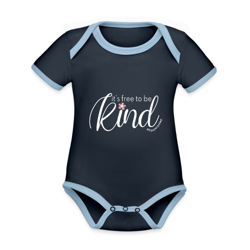 Amy's 'Free to be Kind' design (white txt) - Organic Baby Contrasting Bodysuit