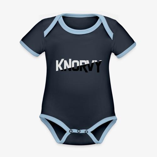 KNORVY - Baby contrasterend bio-rompertje met korte mouwen