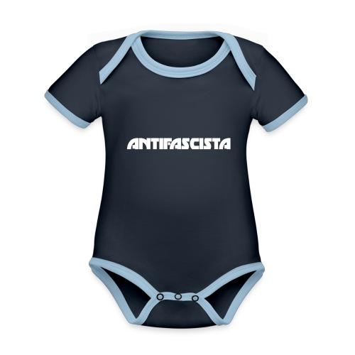 Antifascista vit - Ekologisk kontrastfärgad kortärmad babybody