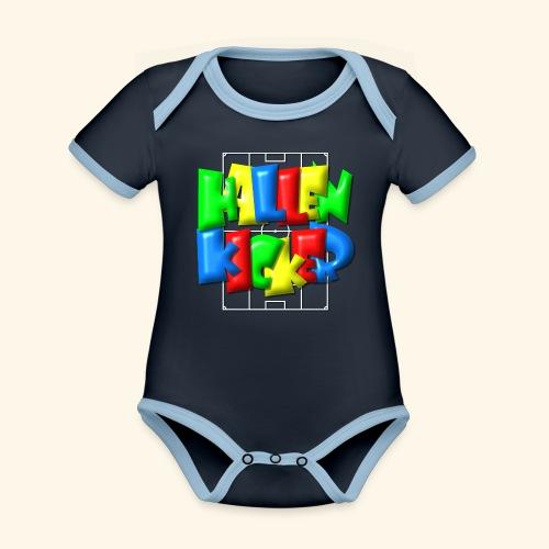 Hallenkicker im Fußballfeld - Balloon-Style - Baby Bio-Kurzarm-Kontrastbody