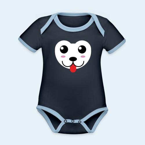 Husky perro bebé (baby husky dog) - Body contraste para bebé de tejido orgánico
