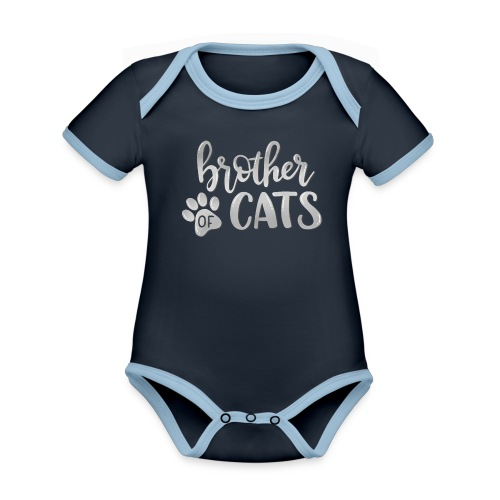 brother of cats grau - Baby Bio-Kurzarm-Kontrastbody