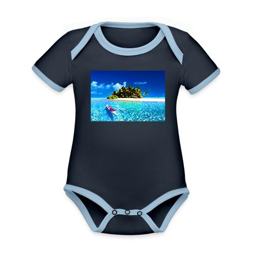 Ile de Polynesie - Body Bébé bio contrasté manches courtes