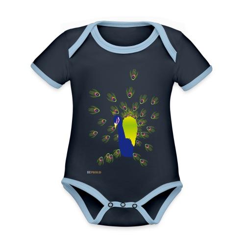 BEPROUD.png - Baby contrasterend bio-rompertje met korte mouwen