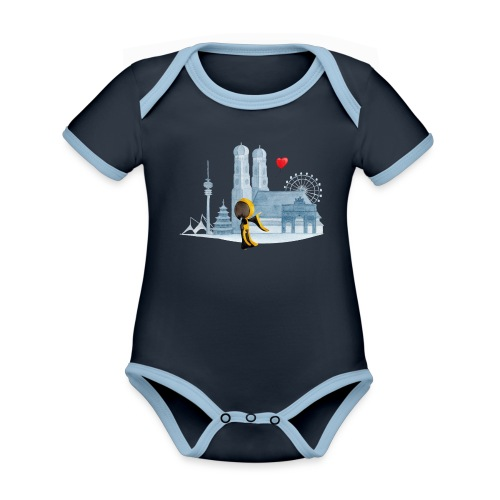 Skyline München mit Münchner Kindl und Herz - Baby Bio-Kurzarm-Kontrastbody