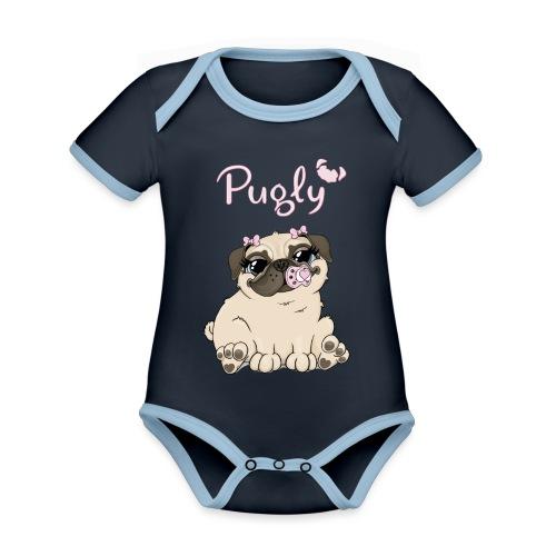 Bella Pug - Ekologisk kontrastfärgad kortärmad babybody