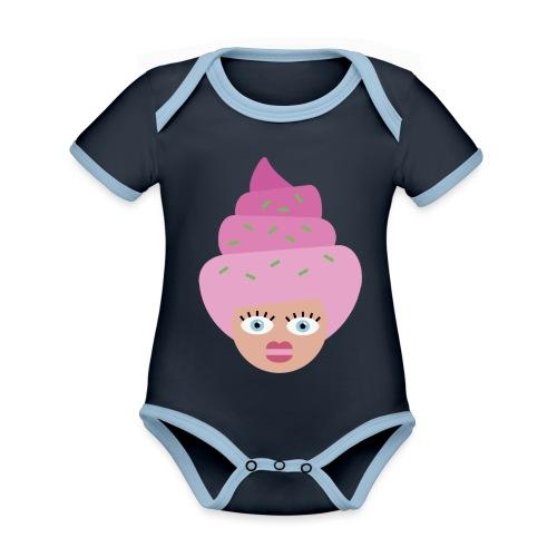 Ice cream girl - Kortærmet økologisk babybody i kontrastfarver