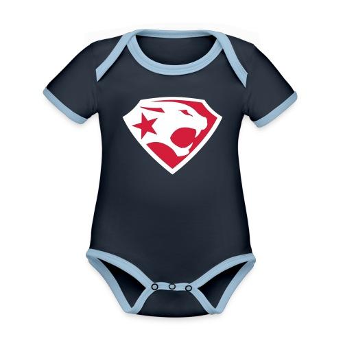 SUPER BLACK PANTHER - Baby Bio-Kurzarm-Kontrastbody