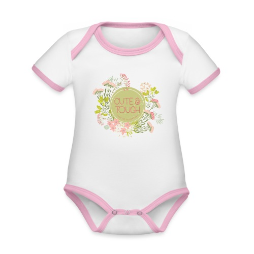 Cute and tough - green - Organic Baby Contrasting Bodysuit