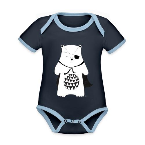 stoere beer - Baby contrasterend bio-rompertje met korte mouwen