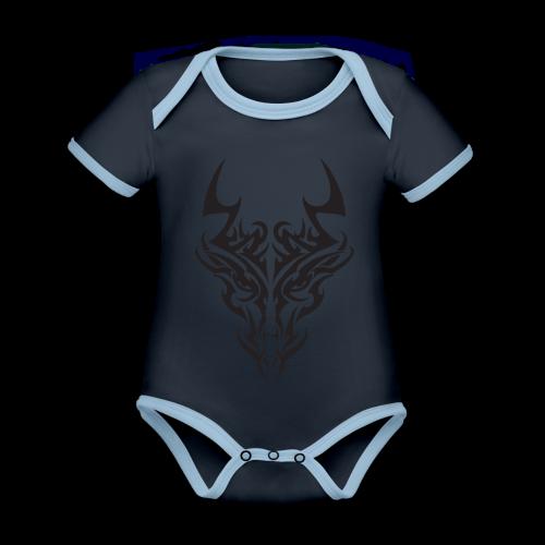 tribal dragon - Body Bébé bio contrasté manches courtes