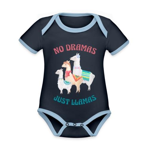 No Dramas Just Llamas - Organic Baby Contrasting Bodysuit