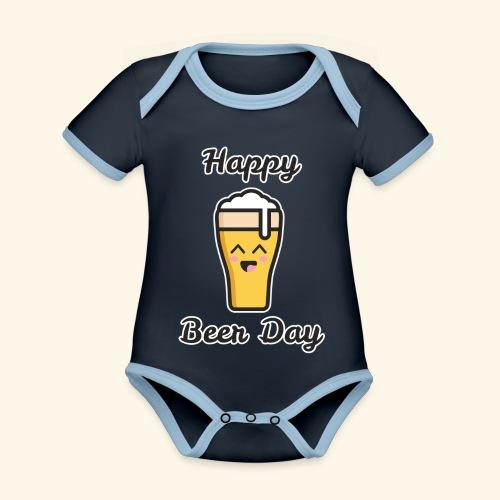 happy beer day - Body Bébé bio contrasté manches courtes