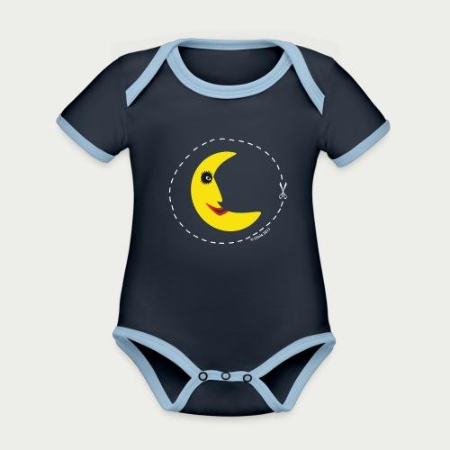Mann im Mond - Baby Bio-Kurzarm-Kontrastbody