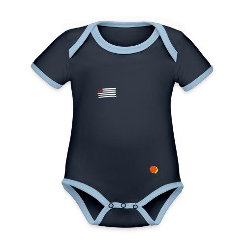 Skiirtt Skirrrt Shirrrt... - Baby contrasterend bio-rompertje met korte mouwen