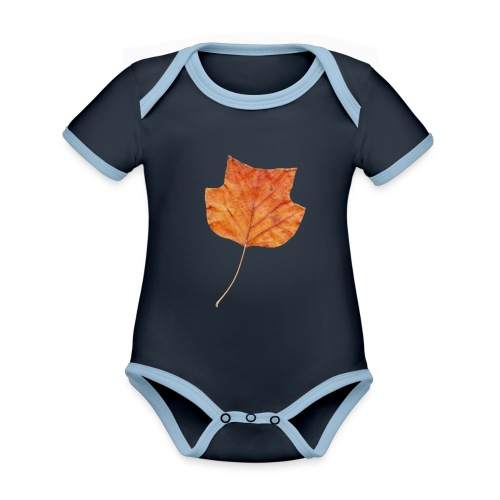 Herbst-Blatt - Baby Bio-Kurzarm-Kontrastbody