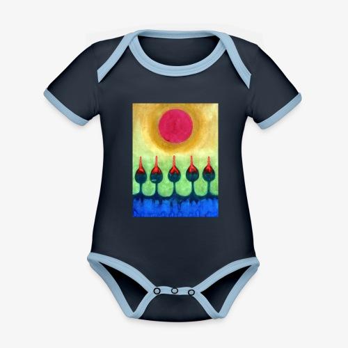 Zenit - Ekologiczne body niemowlęce z krótkim rękawem i kontrastowymi lamówkami